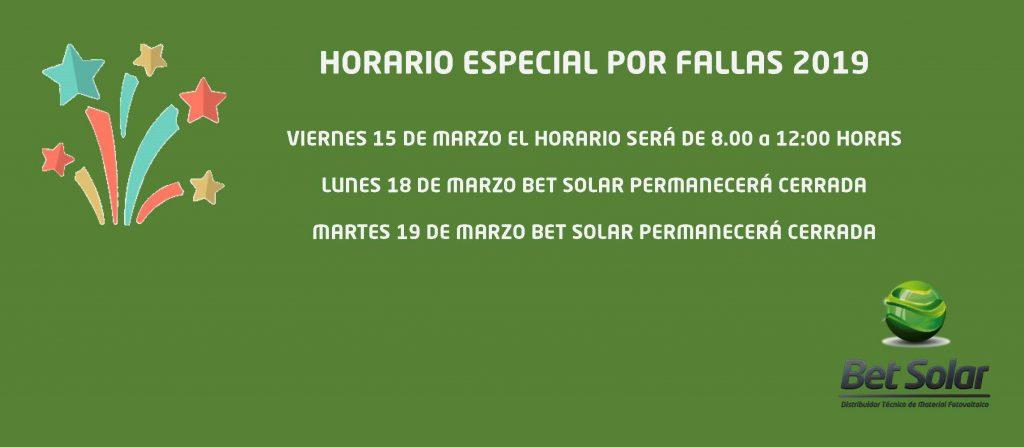 Horario especial Fallas 2019
