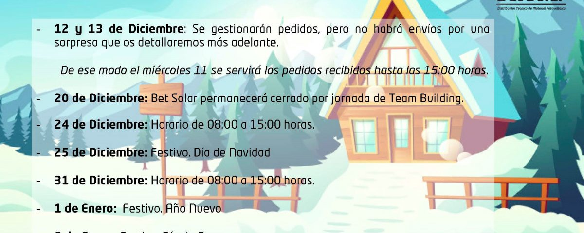 Horario Especial Diciembre 2019